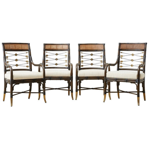 Set of Four Neoclassical Style Rattan Dining Armchairs