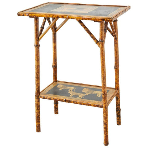 English Regency Style Tortoiseshell Bamboo Decoupage Lion Table