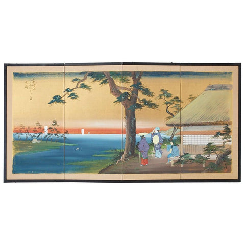 Japanese Four-Panel Screen 53 Stations of Tokaido