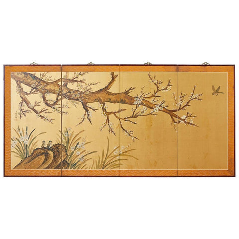 Japanese Four-Panel Screen Flowering Plum Tree