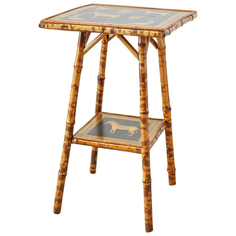 English Regency Style Tortoiseshell Bamboo Decoupage Zebra Table