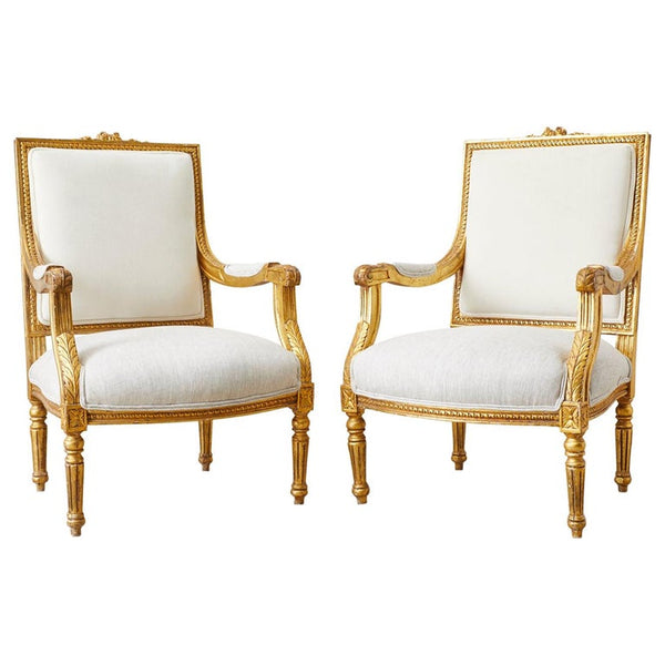 Pair of French Louis XVI Style Gilt Fauteuils a La Reine