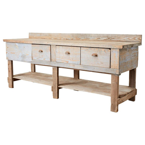 Rustic American Pine Three-Drawer Workbench Table