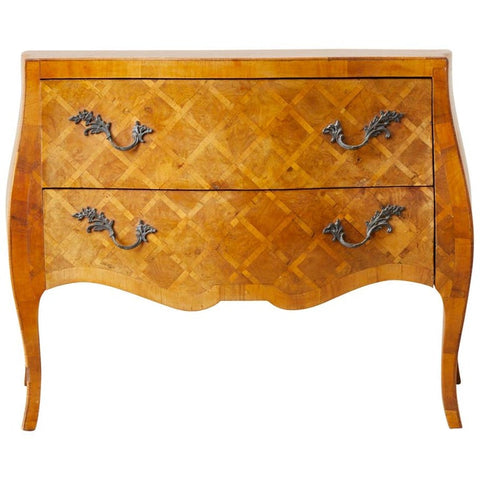Italian Burl Parquetry Inlay Bombe Commode Chest