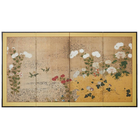 Japanese Edo Period Four-Panel Moriage Screen