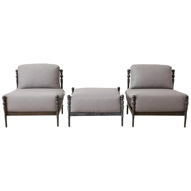 Pair of Michael Taylor Montecito Lounge Chairs with Ottoman