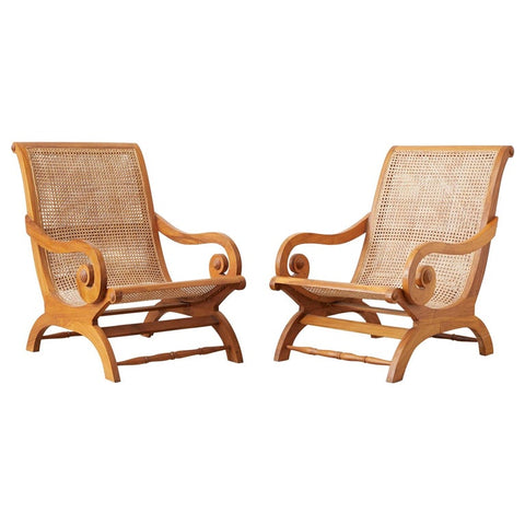 Pair of British Colonial Teak and Cane Plantation Chairs