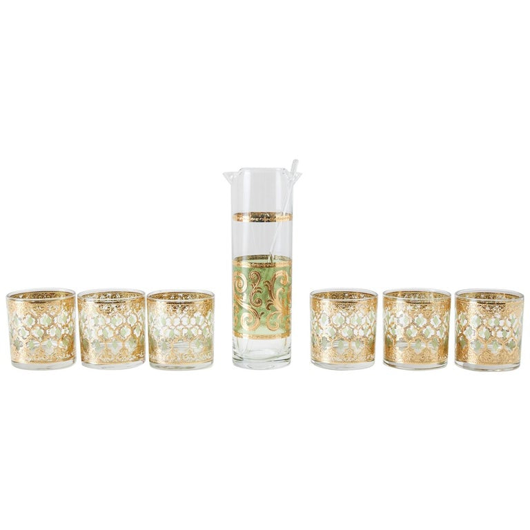 Culver 7-Piece Barware Set of Valencia Moorish Design