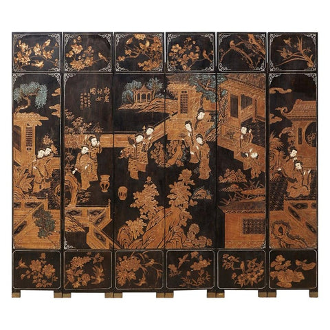 Chinese Export Gilt Lacquered Six-Panel Coromandel Style Screen