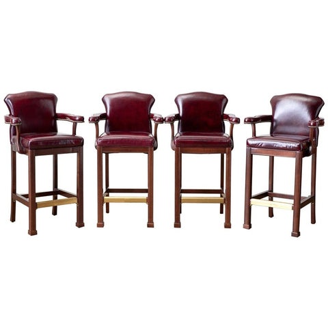 Set of Four Regency Style Cordovan Leather Mahogany Barstools