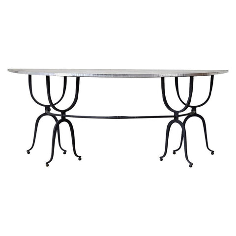 Italian Iron Demilune Wine Tasting Table Console or Desk
