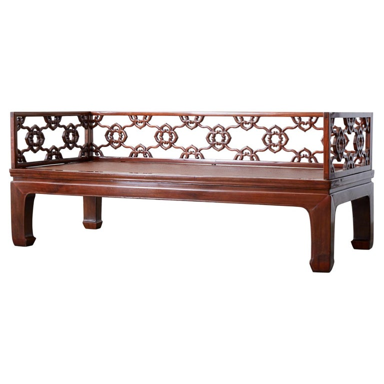 Chinese Ming Style Carved Daybed with Grasscloth