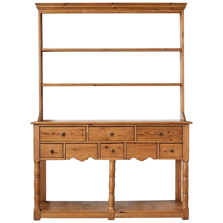 English Pine Welsh Dresser with Pot Board and Rack