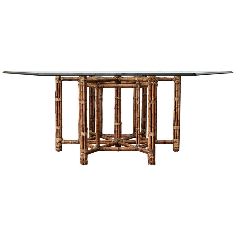 McGuire Style Organic Modern Bamboo Hexagonal Dining Table