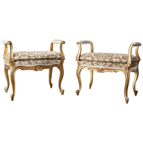 Pair of French Louis XV Style Giltwood Vanity Benches