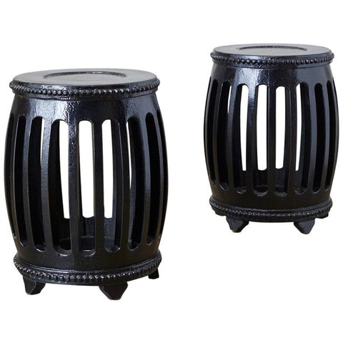 Pair of Chinese Lacquered Garden Stools or Drink Tables