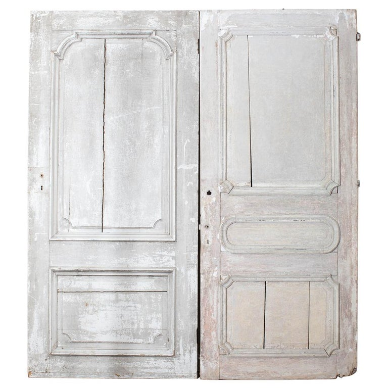 Rustic Pair of 19th Century French Painted Panel Doors