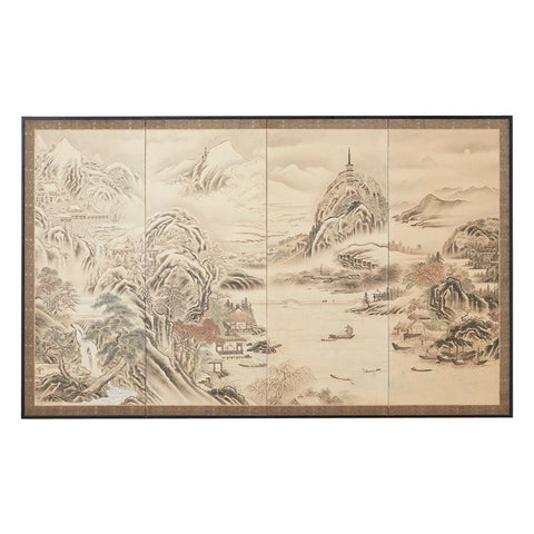 Japanese Edo Four-Panel Screen Hang Zhou Autumn Landscape