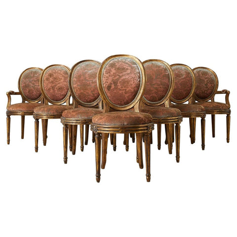 Set of Twelve Louis XVI Style Giltwood Dining Chairs