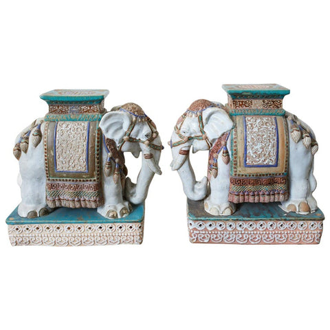 Pair of Ceramic Elephant Garden Stool Drink Tables