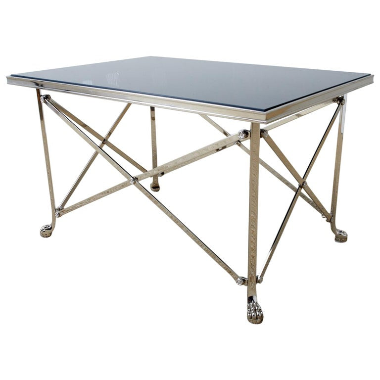 Neoclassical Grand Tour Style Nickel Cocktail Table