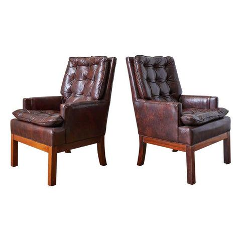 Pair of Midcentury Tufted Leather Library Chairs
