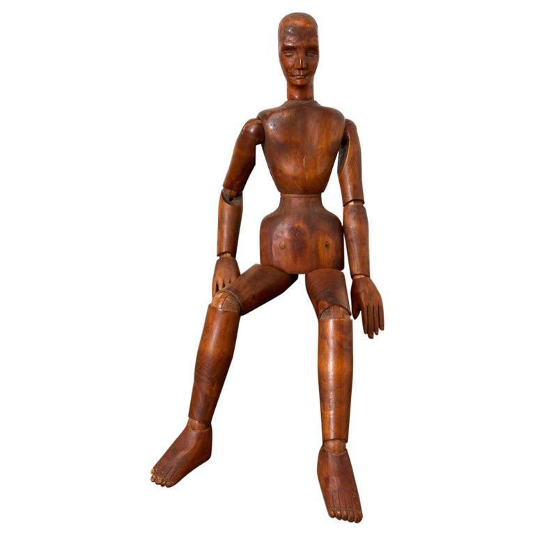 19th Century French Articulated Wood Artists Mannequin