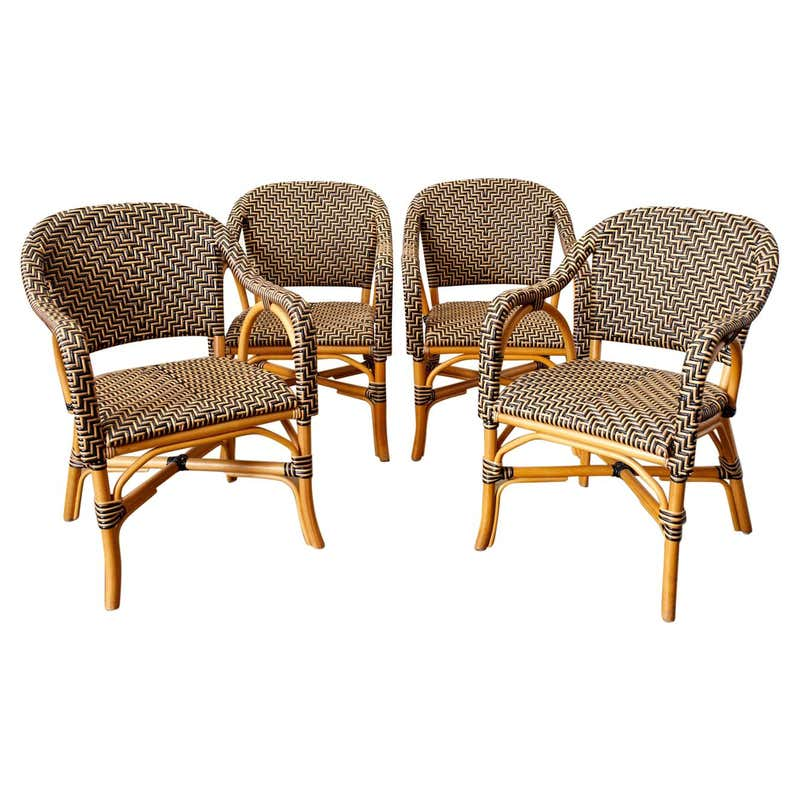 Set of Four Palacek Rattan Garden Dining Armchairs