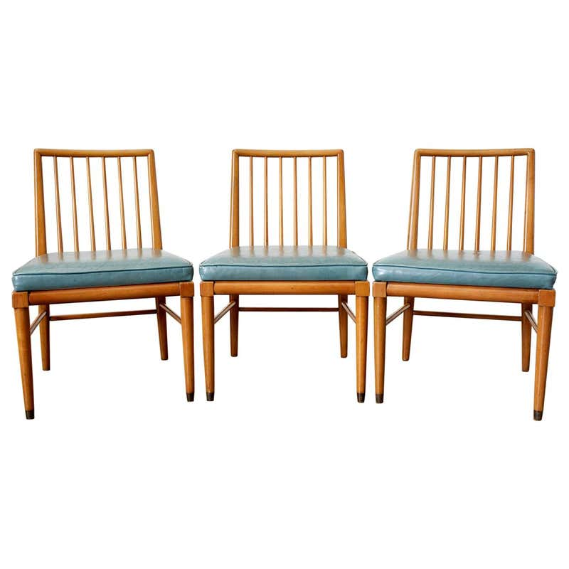 Set of Three Scandinavian Modern Spindle Back Chairs