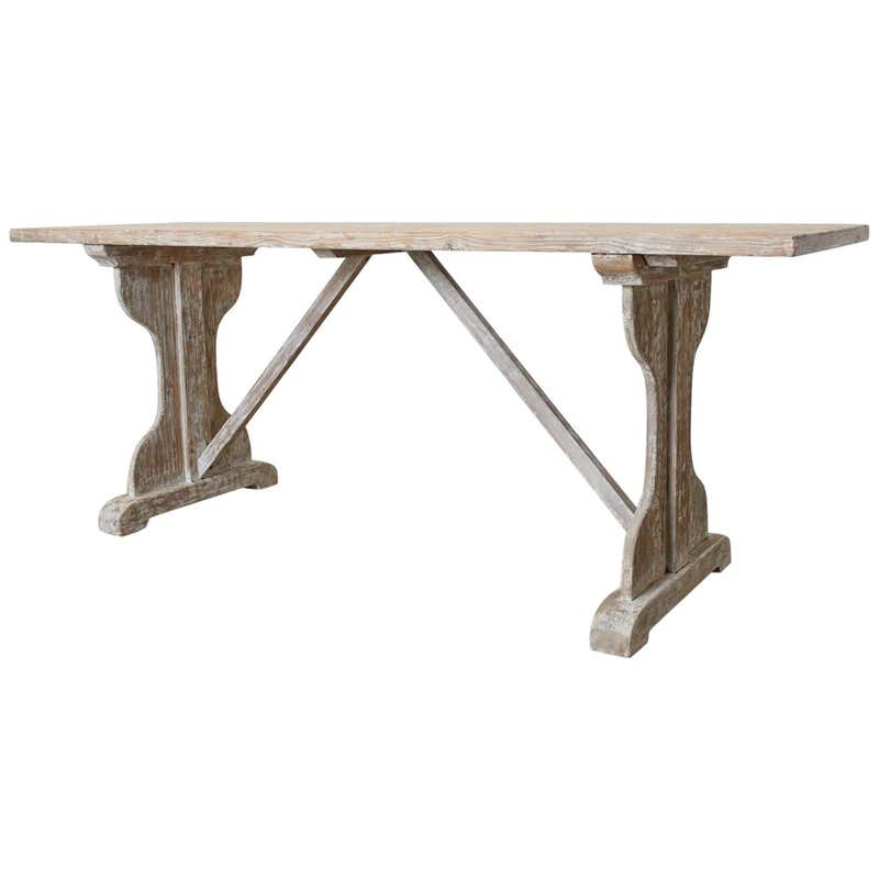 Rustic Country French Painted Pine Farmhouse Trestle Table