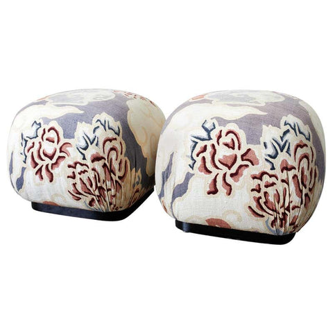 Pair of Cube Shaped Linen Ottomans or Poufs
