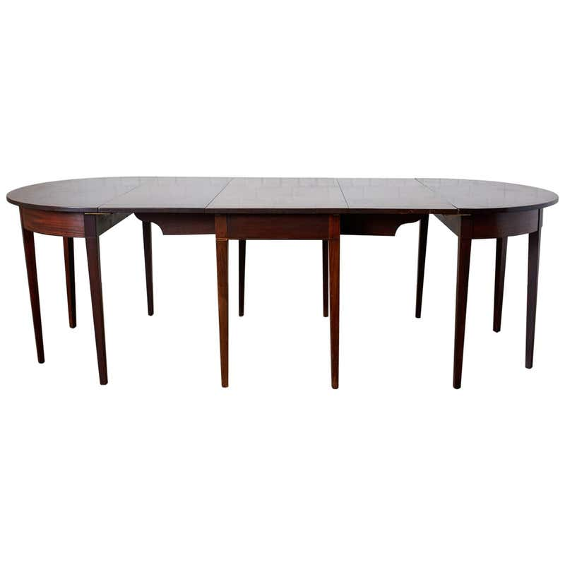 English Hepplewhite Mahogany Dining Table with Demilunes