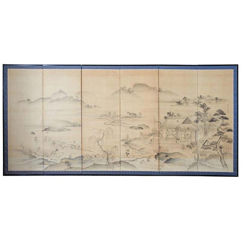 Japanese Six Panel Edo Screen Village Farming Landscape