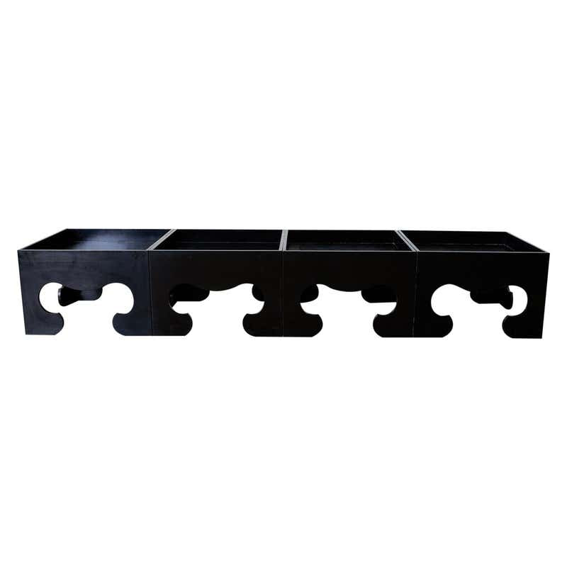 Set of Four Black Lacquered Cube Drinks Tables