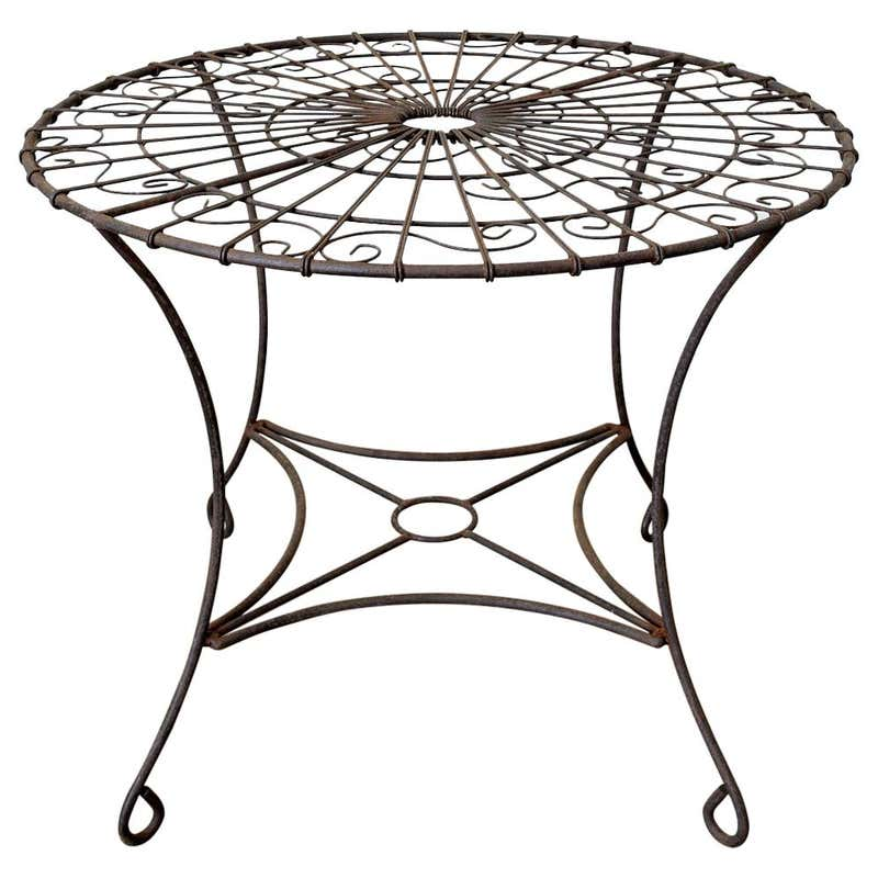 French Art Nouveau Iron and Wire Garden Table
