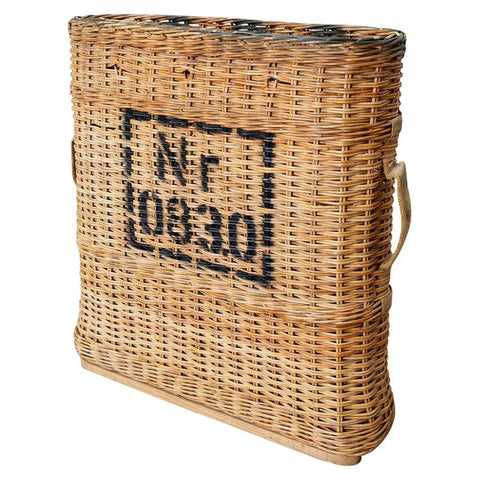 French Woven Wicker Wine Champagne Basket Carrier