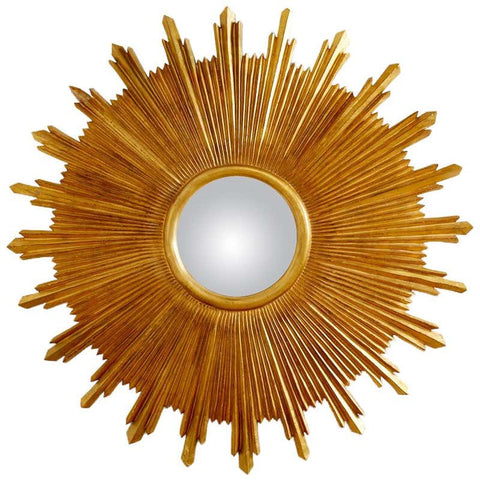 Large Giltwood Carved Convex Sunburst Mirror