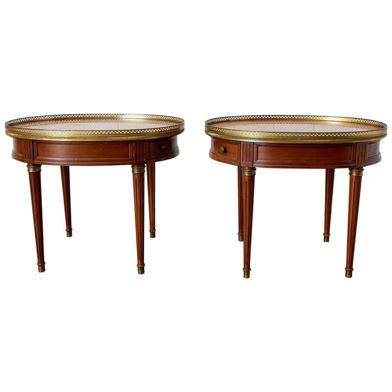 Pair of French Louis XVI Style Oval Bouillotte Tables