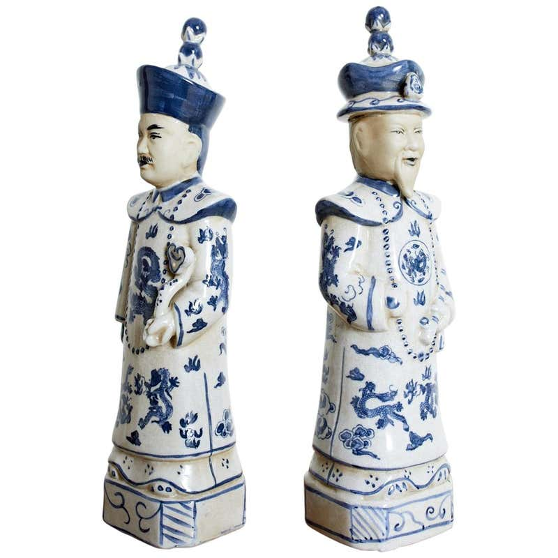Pair of Chinese Blue and White Porcelain Official Figures