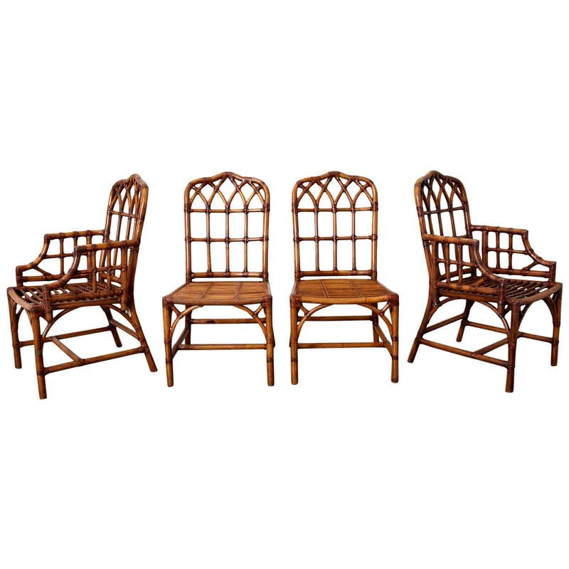 Set of Four McGuire Style Bamboo Rattan Dining Chairs