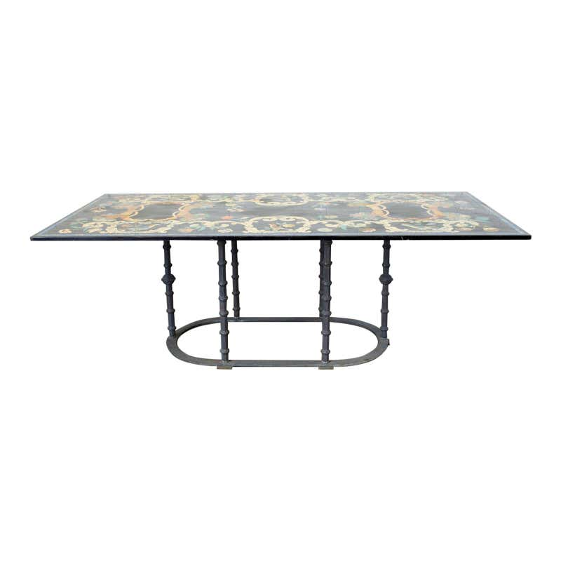 Florentine Scagliola Marble Inlay Garden Dining Table