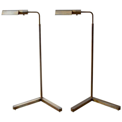 Pair of Casella Brass Adjustable Pharmacy Floor Lamps