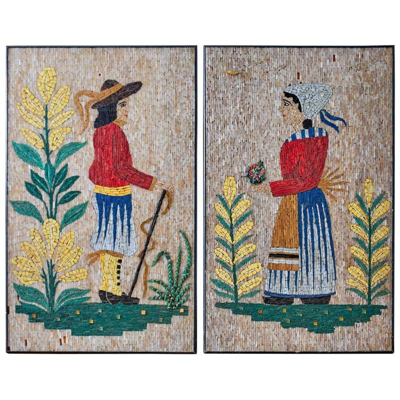 Pair of Folk Art Mosaic Tile Paintings Man and Woman
