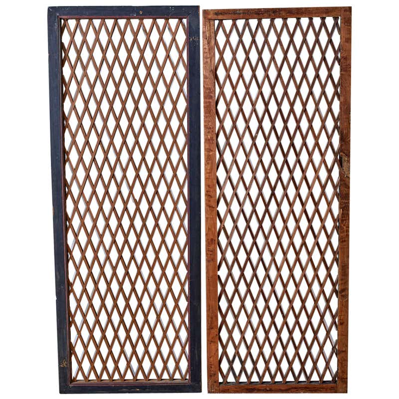 Pair of Chinese Geometric Lattice Window Panels