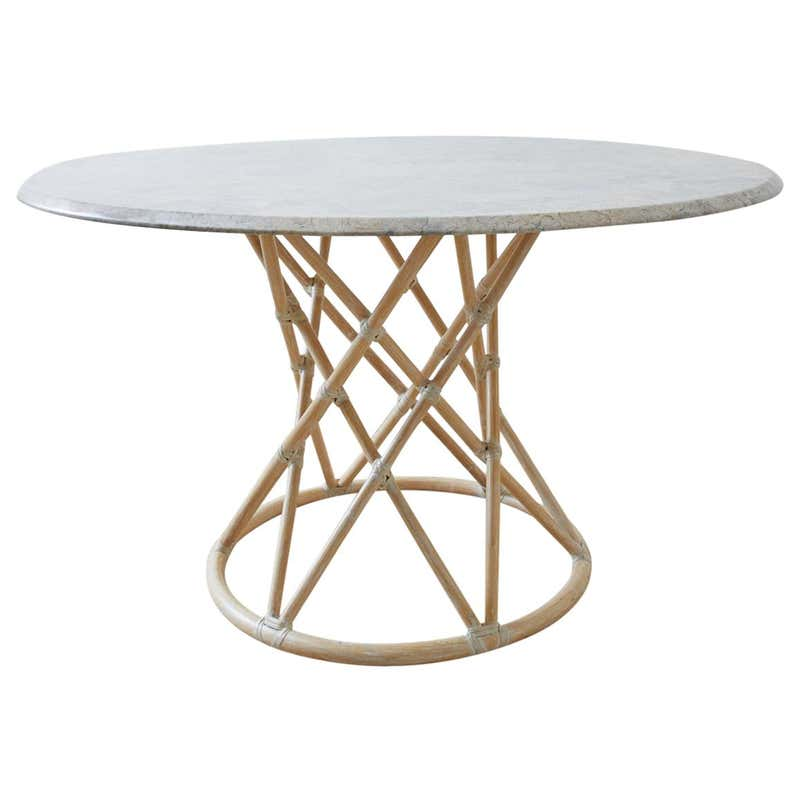 McGuire Organic Modern Marble Top Bamboo Rattan Dining Table
