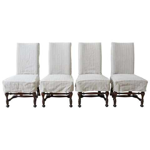 Set of Four English Style Walnut Slipcover Dining Chairs