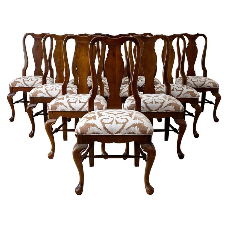 Set of 10 Queen Anne Style Mahogany Dining Chairs