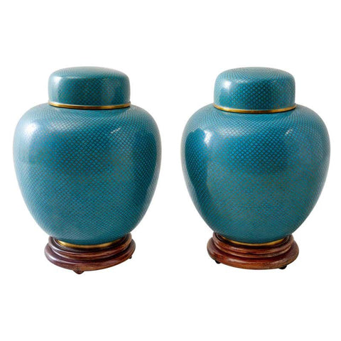 Pair of Chinese Cloisonné Enamel Lidded Jars