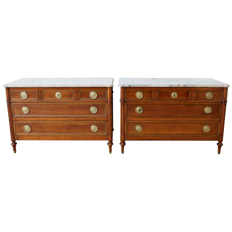 Pair of Louis XVI Style Marble Top Commodes or Dressers