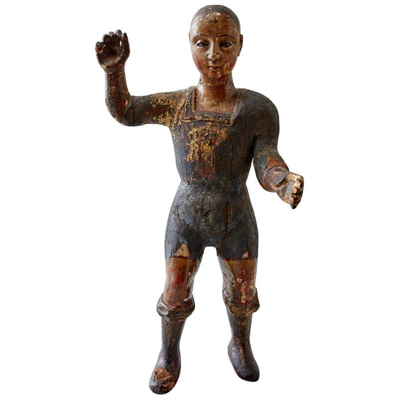 18th Century Italian Carved Santo Boy Sculpture Icon
